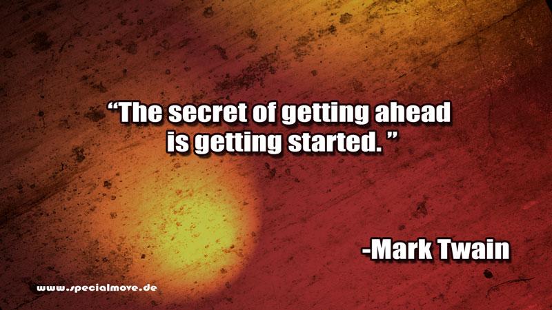 Um Fortschritte zu machen, musst du erstmal anfangen